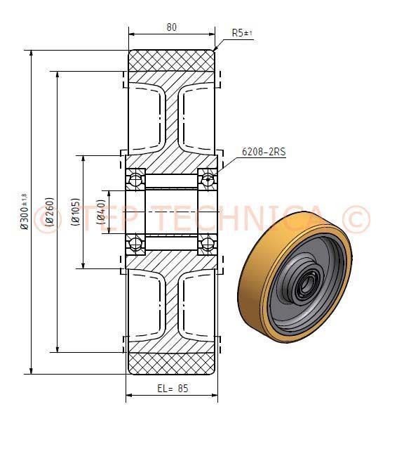 Polyurethane  Load Wheel - Technical Diagram