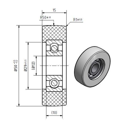 Polyurethane Guide Roller - Technical Diagram