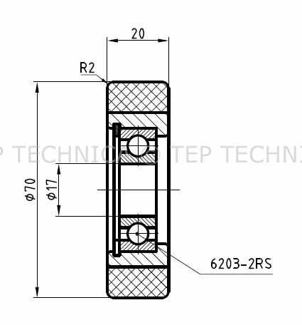 Vulkollan Guide Roller Technical Drawing