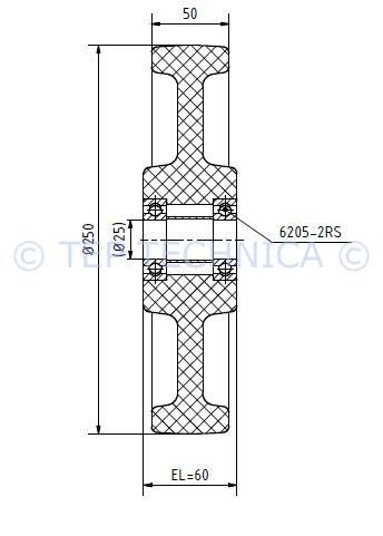 Nylon Load Wheel - Technical Diagram