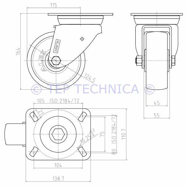 Nylon Swivel Castor Wheel - Technical Diagram