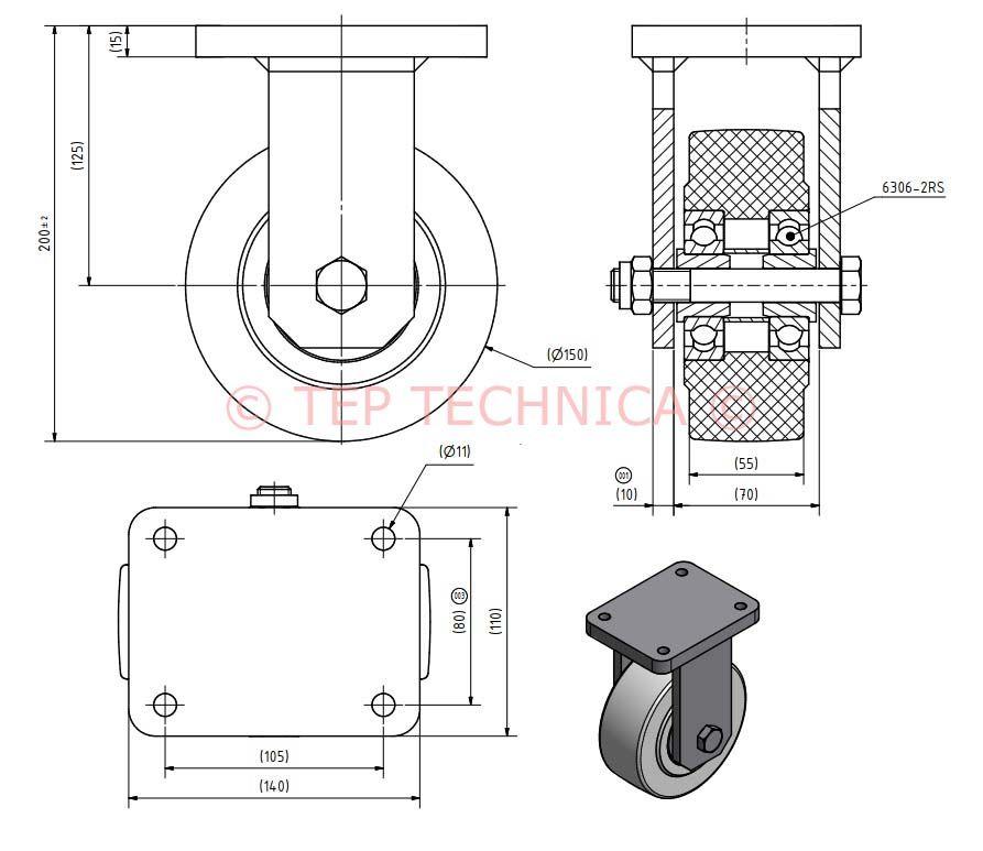 Heavy Duty Nylon Fixed Castor- Technical Diagram