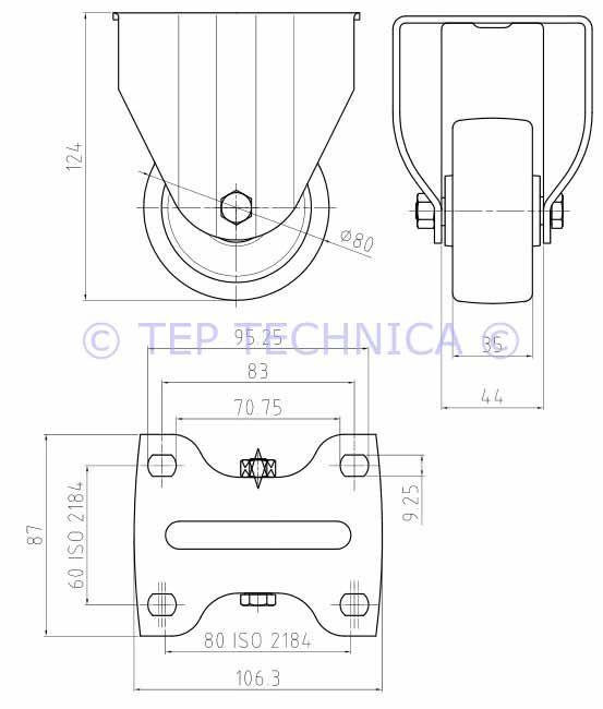 Fixed Castor Wheel - Technical Diagram