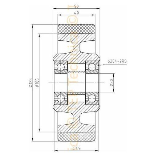 Polyurethane Castor Wheel Technical Drawing