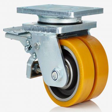Heavy Duty Swivel Castor Twin Polyurethane Wheels