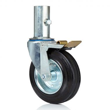 200/46 Scaffolding Wheel Castor with Black Rubber Wheel (44mm tube fitting)