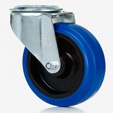 80/35 Rubber on Nylon Swivel Single Bolt Theatre Castor - Blue & Non Marking