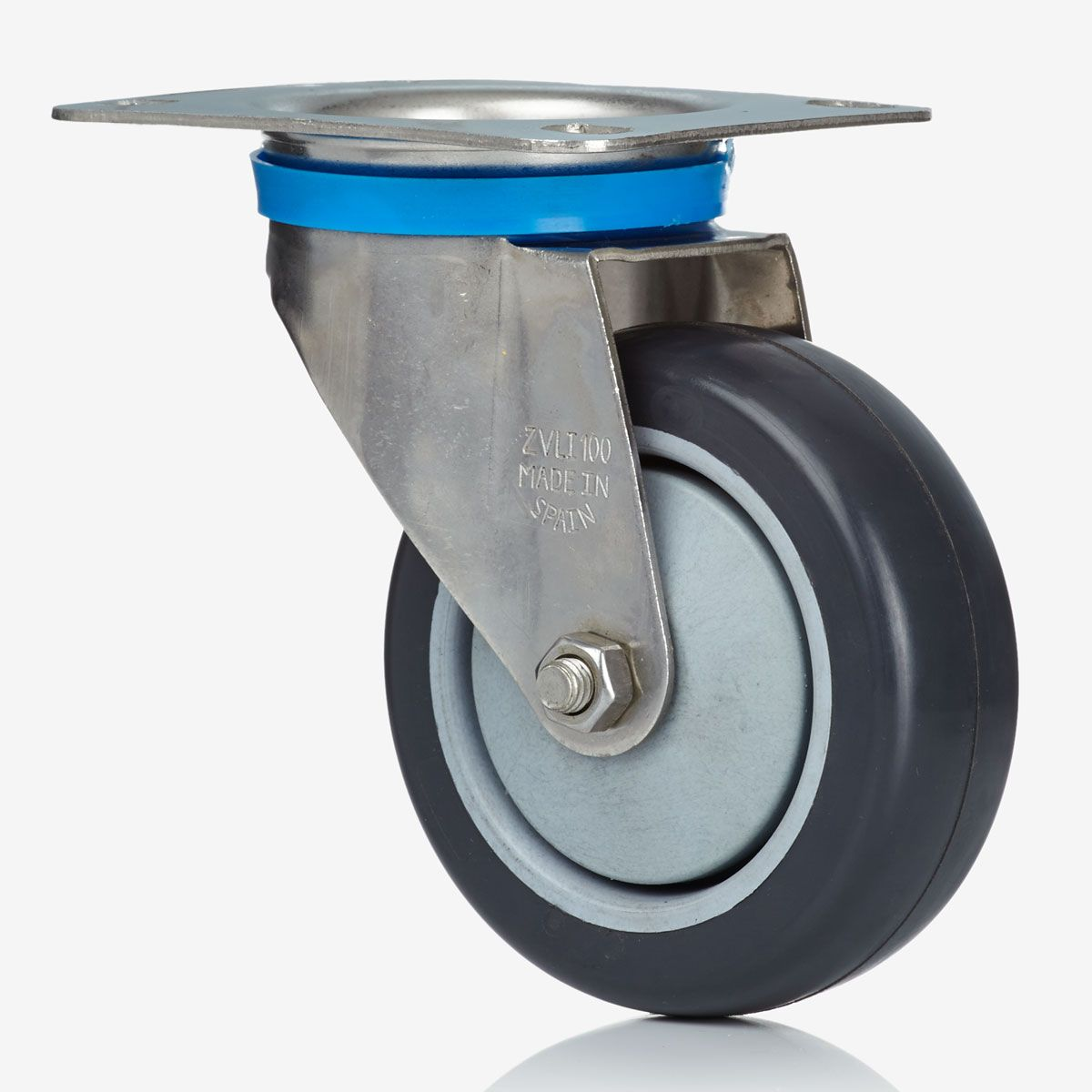 80/32 Electrically Conductive Grey Rubber Swivel Castor - Stainless Steel