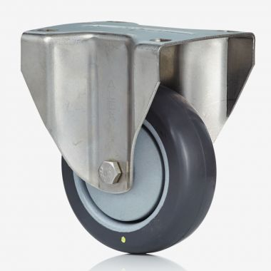 80/32 Electrically Conductive Grey Rubber Fixed Castor - Stainless Steel
