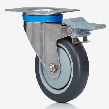 125/32 Electrically Conductive Grey Rubber Swivel/Brake Castor - Stainless Steel